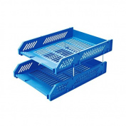 Comix Office File Tray Two Stackable Layers with Metal Brackets - Light Blue