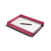 Lucrin - A4 Letter Tray - Fuchsia - Smooth Leather