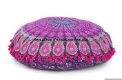 Round Mandala Throw Pillows, Peacock Floor Cushions, Decorative Pink Pom Pom Pillowcases 80cm , Boho Cushion Cover, Indian Pillow Shams