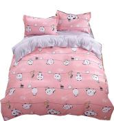 Ningkotex Cartoon Pandas Print Pink Quilt Cover Pillow Case King Queen Full Kid's Girl Bedding Set