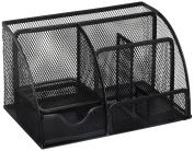 Greenco Mesh Office Supplies Desk Organiser Caddy, 6 Compartments, Black