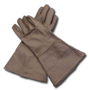 Leather Gauntlet Gloves DARK BROWN X-SMALL Long Arm Cuff