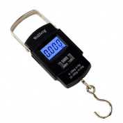 WiseField 110lb/50kg Electronic Digital Hanging Luggage Fishing Hook Scale, Black