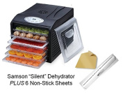 "Samson ""Silent"" Dehydrator 6-Tray with Digital Controls PLUS 6 Non-Stick Sheets"