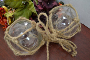 2 Pcs Clear Reproduction Glass Float Fishing Buoy Ball with Fishnet 10cm