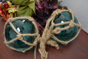 2 Pcs Turquoise Reproduction Glass Float Fishing Buoy Ball with Fishnet 10cm