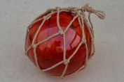 Red Reproduction Glass Float Fishing Buoy Ball with Fishnet 30cm