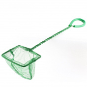 uxcell Aquarium Tank Nonslip Slim Handle 7.6cm Mesh Fish Shrimp Net Green