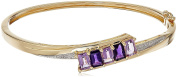 18k Yellow Gold over Sterling Silver Tonal Amethyst and Diamond Accent Hinged Bangle Bracelet
