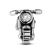 TINYSAND Stamped 925 Polished Sterling Silver Motorcycle with CZ Stone Head Light Charm Bead
