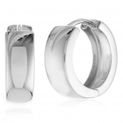 925 Sterling Silver Wide Huggie Hoop Earrings High Polished Shiny