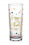 Happy Birthday Shot Glass - Metallic Gold Lettering with a Fun Confetti Background