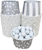 Outside the Box Papers Stripe and Polka Dot Candy/Nut Cups 48 Pack Silver, White