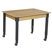 Wood Designs WD823A1829C6 - Mobile 60cm x 90cm Rectangle Hardwood Table with Adjustable Legs 50cm - 80cm