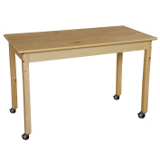 Wood Designs WD84829C6 Mobile 60cm x 120cm Rectangle Hardwood Table with 70cm Legs