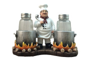 Standing French Chef With Flaming Pots Decorative Salt And Pepper Shaker by DWK | Country Cottage And Gourmet Kitchen Decorative Collectible Decor