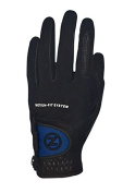 Zero Friction Men's Motion Fit by Johnny Miller Golf Glove, Black/Blue Flap, Left Hand, One Size