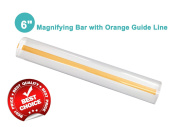 15cm Magnifying Bar Magnifier Ruler with Yellow or Orange Guide Line Ideal for Reading Small Prints and Document