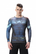 Cody Lundin® Men's Digital Printing Movie Theme Hero Exercise Fitness and Compression Tights Shirt Long Sleeved Sports T-shirt