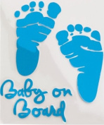 LeSo © Baby on Board Car Sticker Footprints blue S025