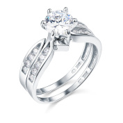 14K White Gold SOLID Wedding Engagement Ring and Wedding Band 2 Piece Sets