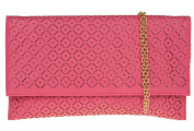 Womens Medium Sized Faux Leather Clutch Laser Patterns