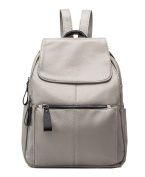 Yan Show Women's Leather Shoulder Bags Backpack /Grey