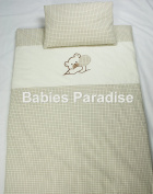 Babies Paradise 2 Piece Baby Bedding Set with Bear Pattern Balloon Beige Cheque