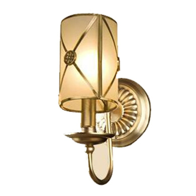 European-style All-copper Glass Wall Lamp Bedroom Bed Aisle Aisle Single-head Simple Lamps