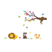 Winhappyhome Animals Tree Branch Wall Art Stickers for Kid's Room Nursery Kindergarten Background Removable Decor Decals