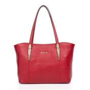 BOSTANTEN Leather Handbags Designer Shopper Tote Shoulder Bags for Women Red