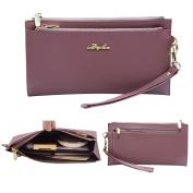 Befen Women Soft Leather Purse Wallet Wristlet Cellphone Clutch Wallet with Removable Wrist Strap Smartphone Wristlet Purse for iPhone 7/6s/6 Plus- Pale Pinkish Purple