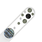 Purse Size Hand Decorated Crystal Glass Nail File with Elements, Czech Tempered Glass, Lifetime Guaranty, in Suede Sleeve