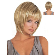 Womens Hair wig Ombre Synthetic Wig Gold Short Straight Synthetic Fabulous Wig Natural As Real Hair Party Wig
