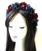 Midnight Blue Black Burgundy Red Rose Flower Hair Crown Headband Goth Boho 1373 *EXCLUSIVELY SOLD BY STARCROSSED BEAUTY*