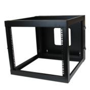 StarTech.com 8U 60cm Hinged Open Frame Rack Cabinet Wallmount Server Rack Components RK819WALLOH, Black
