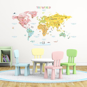 Decowall,DLT-1616,The World Map peel & stick wall decals stickers