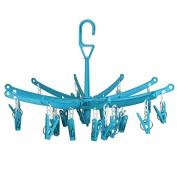 Hangerworld 20 Peg Plastic Foldable Indoor Stock Dryer Airer, Pack of 2, Light Blue