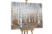 KunstLoft® Painting 'Birch's Choir' 290cm x 120cm | Very large hand-painted canvas | Forest Trees in White & Brown XXL | brown Unique mural oil painting | Modern Art XXL Picture on frame
