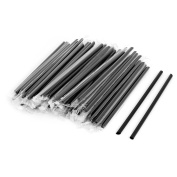 sourcingmap® Plastic Home Party Drinking Accessory Individually Wrapped Drink Straws 100pcs Black