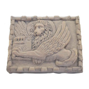 Bas-Relief Lion of San Marco in Marble Pink Asiago Hand Sculpted
