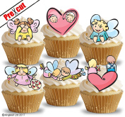 PRE-CUT CUTE LOVE MIX EDIBLE RICE / WAFER PAPER CUPCAKE CAKE DESSERT TOPPERS ENGAGEMENT ANNIVERSARY WEDDING VALENTINE'S DAY PARTY DECORATIONS