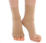 TININNA Compression Foot Sleeve Ankle Sleeves Therapy Sock Heel Arch Support for Men & Women M Nude