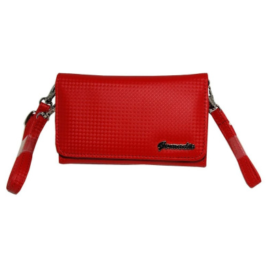 Women Designer Red . Handbag Carrying Case Purse sized for iRiver B30 with Shoulder/Hand Strap