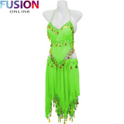 3 ROW BELLY DANCE COSTUME HIP WRAP SCARF SKIRT BELT DANCING PARTY OUTFIT FULL FUSION