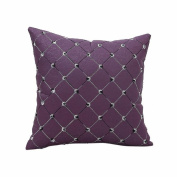 OverDose Home Decoration Chequered Embroidered Pillow Case Cushion Cover