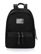 sourcingmap® Lady Two-way Zip Closure Metal Decor Functional Pockets Backpack Black