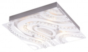 Modern LED Bathroom Light with Clear/Frosted Glass Plate and Rows of Crystals by Haysom Interiors