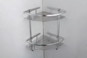 BOEN A11022 Tub and Shower Large Corner Basket Two-Tier with Hook Wall Mount, Aluminium