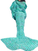TiaoBug Kids Girls Handcrafted Knitted Swimming Mermaid Tail Blanket for Children Adult Adult Green One Size